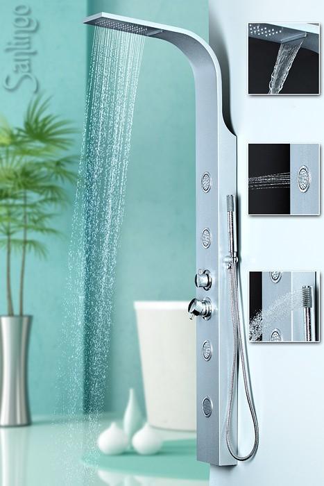 duschpaneel aluminium duschs ule mit massaged sen und wasserfall von sanlingo duschpaneele. Black Bedroom Furniture Sets. Home Design Ideas