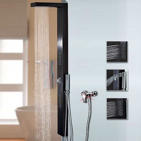 Black Aluminium Shower Panel with Rainshower and Massage Jets from Sanlingo – Bild 1
