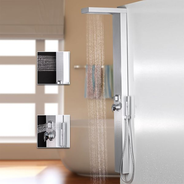 Silver Aluminium Shower Panel with Rainshower and Massage Jets from Sanlingo – Bild 1