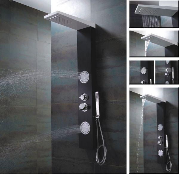 Black White Aluminium Shower Panel Shower Column Waterfall and Massage Sanlingo – Bild 3