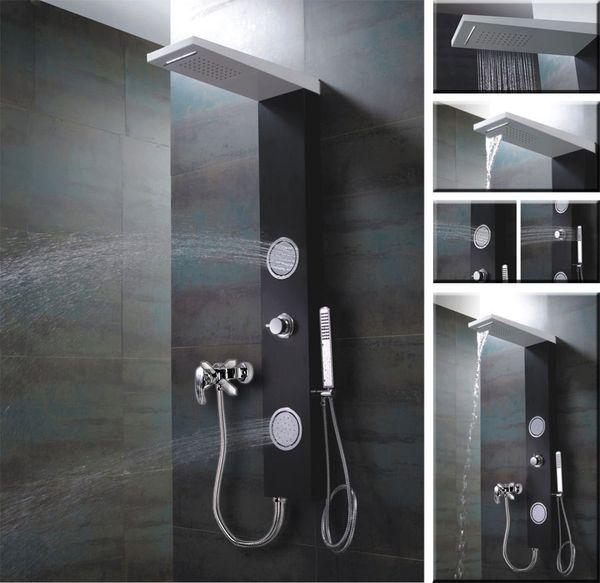 Schwarz Weißes ALU Duschpaneel für Brauseanschluss, Wasserfall, Massage und Regendusche von Sanlingo – Bild 1