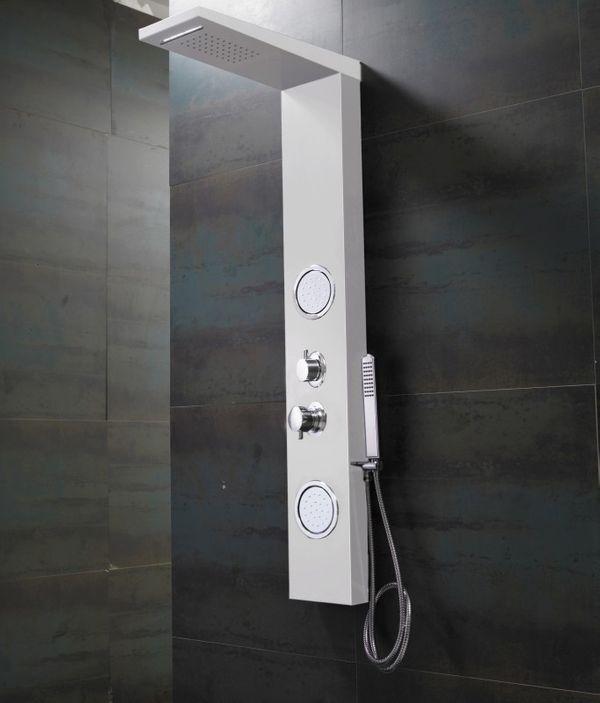 Weißes ALU Duschpaneel mit Wasserfall, Massage und Regendusche von Sanlingo