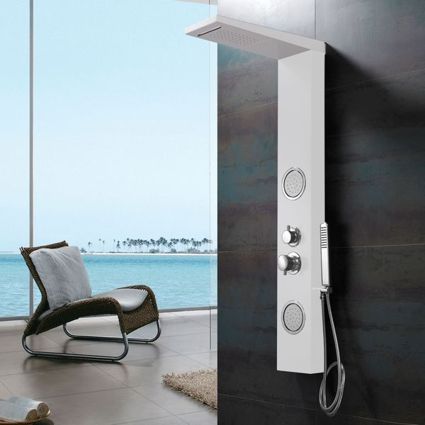 White Aluminium Shower Panel Shower Column Waterfall and Massage Sanlingo – Bild 1