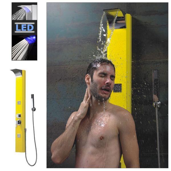 Alu Aluminium LED Duschpaneel Duschsäule Wasserfall Regenschauer Massage Gelb Sanlingo