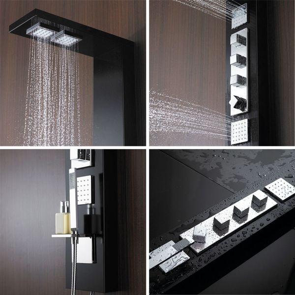 Aluminium Duschpaneel Duschsäule Regendusche und Massagedüsen in schwarz von Sanlingo – Bild 2