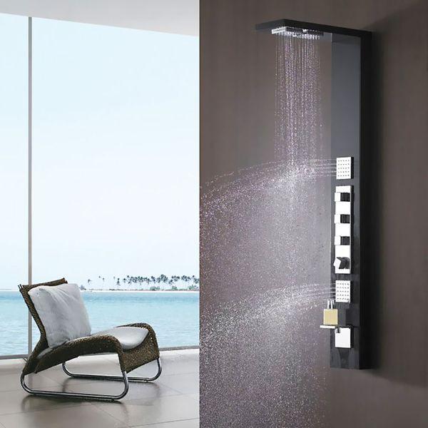 Aluminium Duschpaneel Duschsäule Regendusche und Massagedüsen in schwarz von Sanlingo – Bild 1