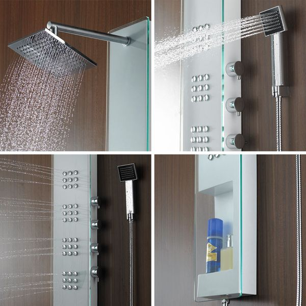 Tempered Glass Stainless Steel Shower Panel Shower Column with massage Sanlingo – Bild 2