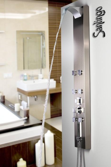 Edelstahl Duschpaneel Duschsäule mit Wasserfall, Massagedüsen und Regendusche von Sanlingo