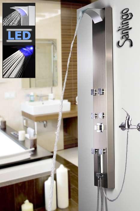 Sanlingo LED Edelstahl Duschpaneel Duschsäule mit Wasserfall, Massagedüsen und Regendusche für Brausearmatur – Bild 1