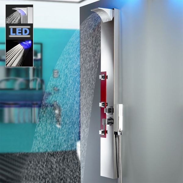 Edelstahl LED Duschpaneel Spiegel Duschsäule mit Massagedüsen Wasserfall und Regendusche Rot von Sanlingo