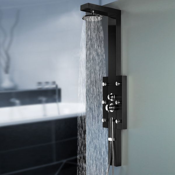 Black Stainless Steel Shower Panel with 6 massage jets and Rainshower from Sanlingo – Bild 1