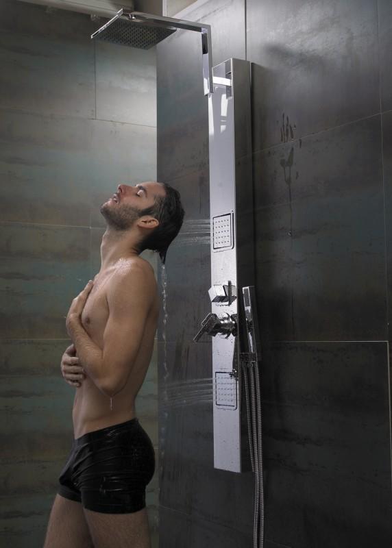 Sanlingo Edelstahl Duschpaneel  Chrom Spiegel Massagedüsen Regendusche – Bild 1