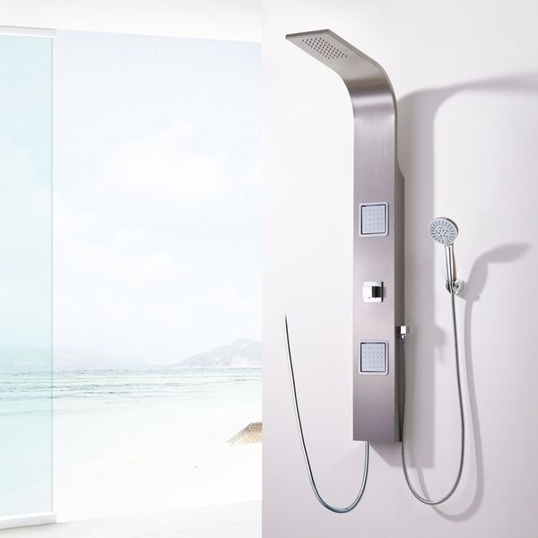 Shower Panel Brushed Stainless Steel Rainshower Massage Sanlingo Design – Bild 1
