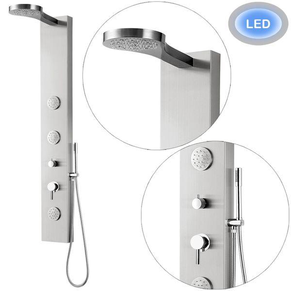 LED Edelstahl Duschpaneel Duschsäule mit Regendusche und Massagedüsen von Sanlingo