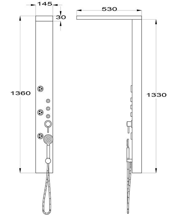 Edelstahl Duschpaneel spiegelnd von Sanlingo. Duschsäule mit Spiegel, Regendusche und Massagedüsen – Bild 2