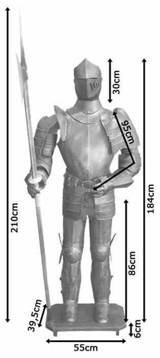 Ritterrüstung mit Hellebarde 193cm / Feldrüstung / Ritter / Mittelalter – Bild 7