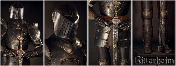 Ritter Ritterrüstung mit Schwert Harnisch ca. 103cm dunkel brüniert – Bild 2