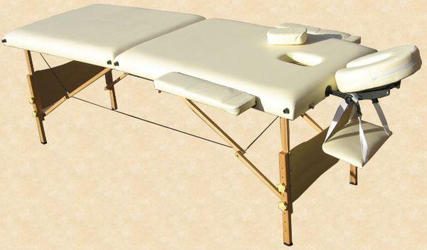 Massageliege / Massagebank in Creme mit viel Zubehör Topqualität