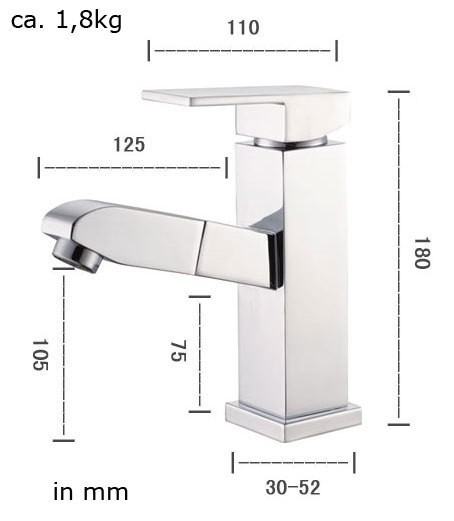 Bathroom Basin Pullout Overhead-shower Spray Wash for Hair washing Tap Sanlingo – Bild 5