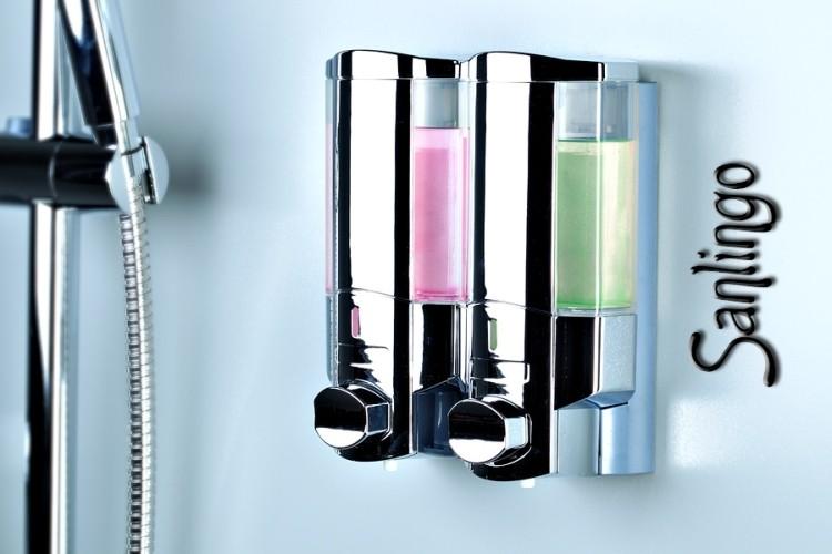 duo wand seifenspender shampoo spender chrom von sanlingo badzubeh r sonstiges seifenspender. Black Bedroom Furniture Sets. Home Design Ideas