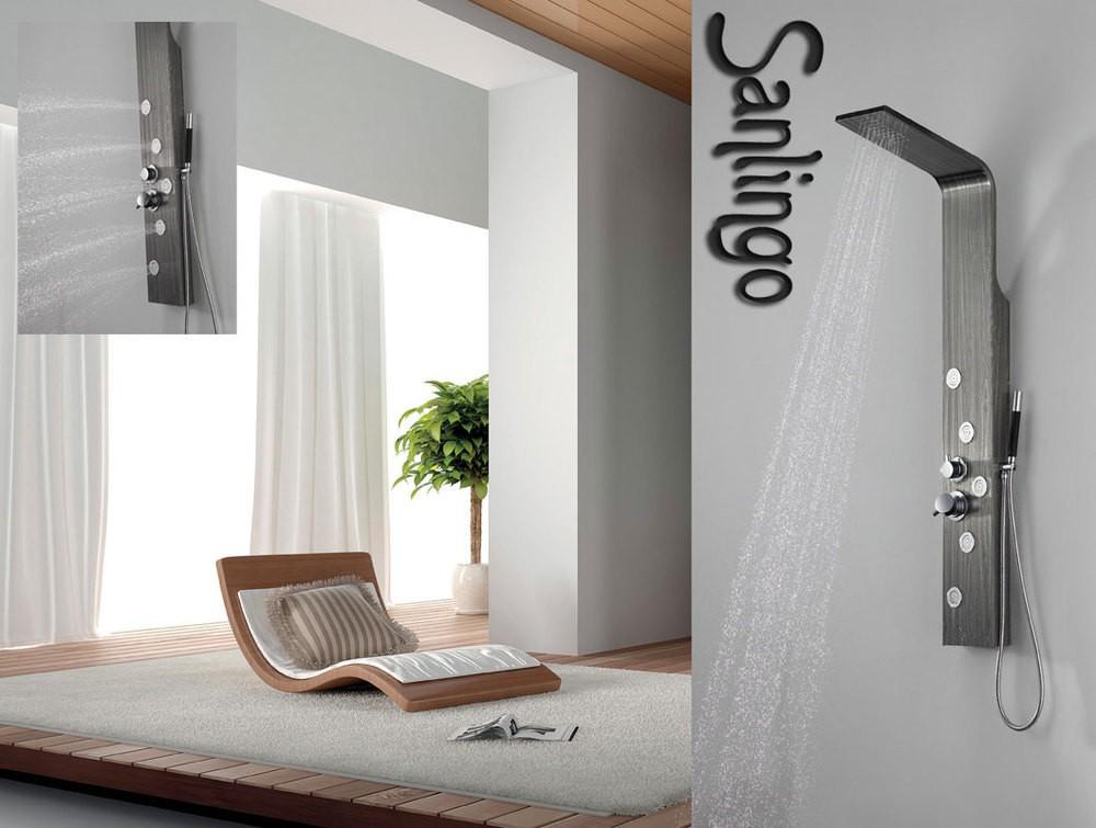 duschpaneel aus edelstahl mit holzmaserung in grau duschs ule mit 5 gro en massaged sen von. Black Bedroom Furniture Sets. Home Design Ideas