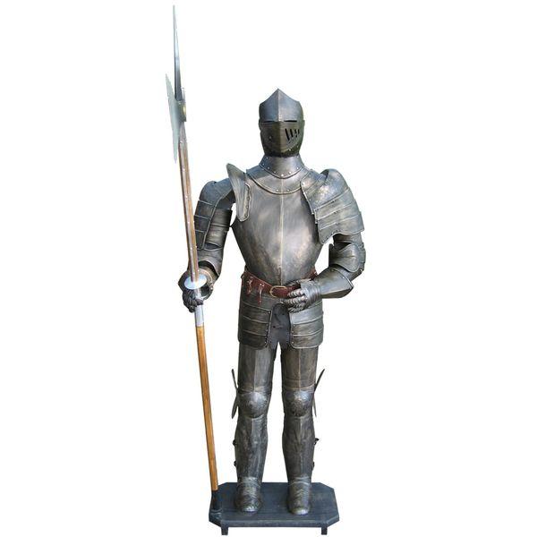Ritter 193cm Ritterrüstung Brüniert Hellebarde Dekoration Lebensgroß Ritterheim – Bild 2