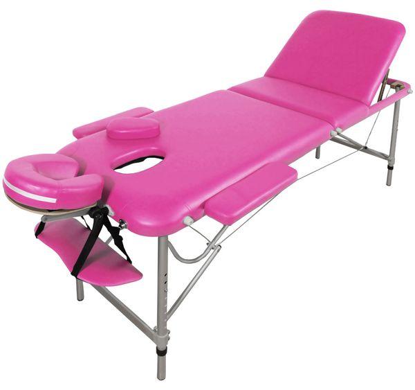 Massageliege / Massagebank ALU, nur 11kg, 3-teilig, mit viel Zubehör, Topqualität, Rosa Pink – Bild 1