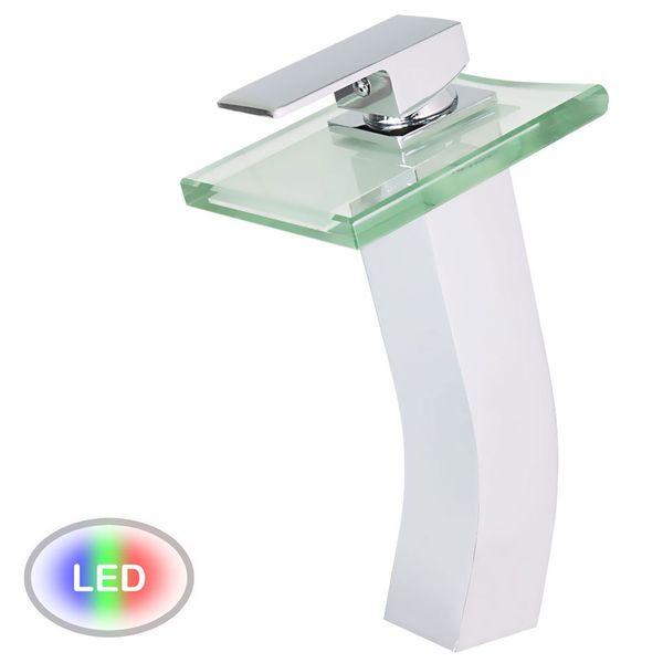 26 cm High glass waterfall bath basin tap LED technology – Bild 2