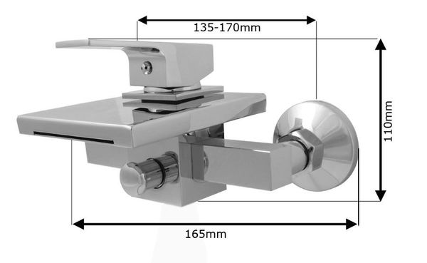 LEVER BATH FILLER TAPS CHROME WITH CHROME WATERFALL NEW – Bild 2