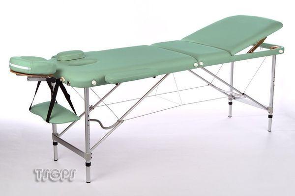 Massageliege / Massagebank ALU, nur 11kg, 3-teilig, mit viel Zubehör, Topqualität, GRÜN