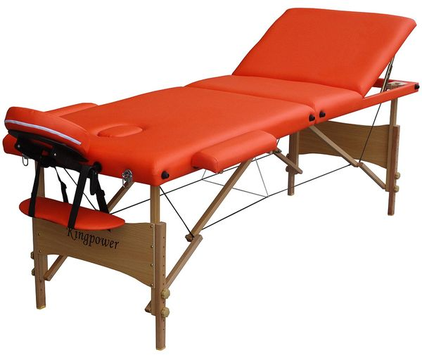 Reiki Massageliege in Orange, Kingpower, 3 Zonen, inkl. Tasche und Zub., orange – Bild 1