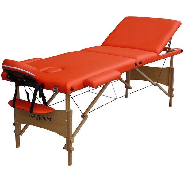 Reiki Massageliege in Orange, Kingpower, 3 Zonen, inkl. Tasche und Zub., orange – Bild 2
