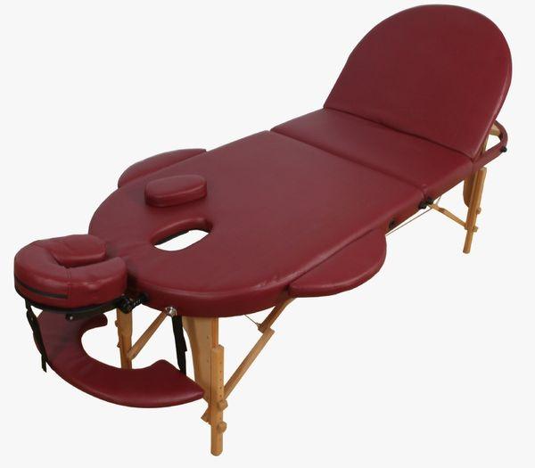 Reiki Massageliege / Massagebank, Oval - Rund, mit viel Zubehör, rot