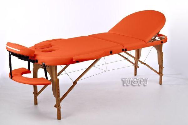 Reiki Massageliege / Massagebank, Oval - Rund, mit viel Zubehör, orange – Bild 1