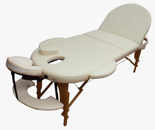 Reiki Massageliege / Massagebank, Oval - Rund,  mit viel Zubehör, creme