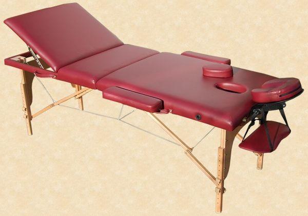 Reiki Massageliege / Massagebank mit viel Zubehör Topqualität, 3-teilig, rot