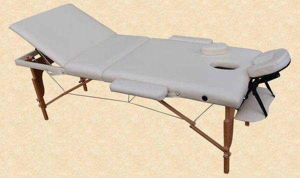 Massageliege / Massagebank in Creme mit viel Zubehör Topqualität, 3-teilig