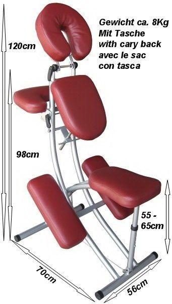 Aluminium Massagestuhl mit Tasche ROT - TSGPS Kingpower – Bild 1