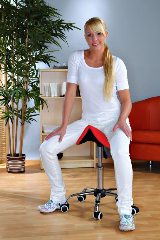 Kosmetik Arbeitshocker Massage Hocker Sattelform, höhenverstellbar, rot – Bild 1