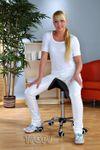 Kosmetik Arbeitshocker Massage Hocker Sattelform, höhenverstellbar, schwarz 001