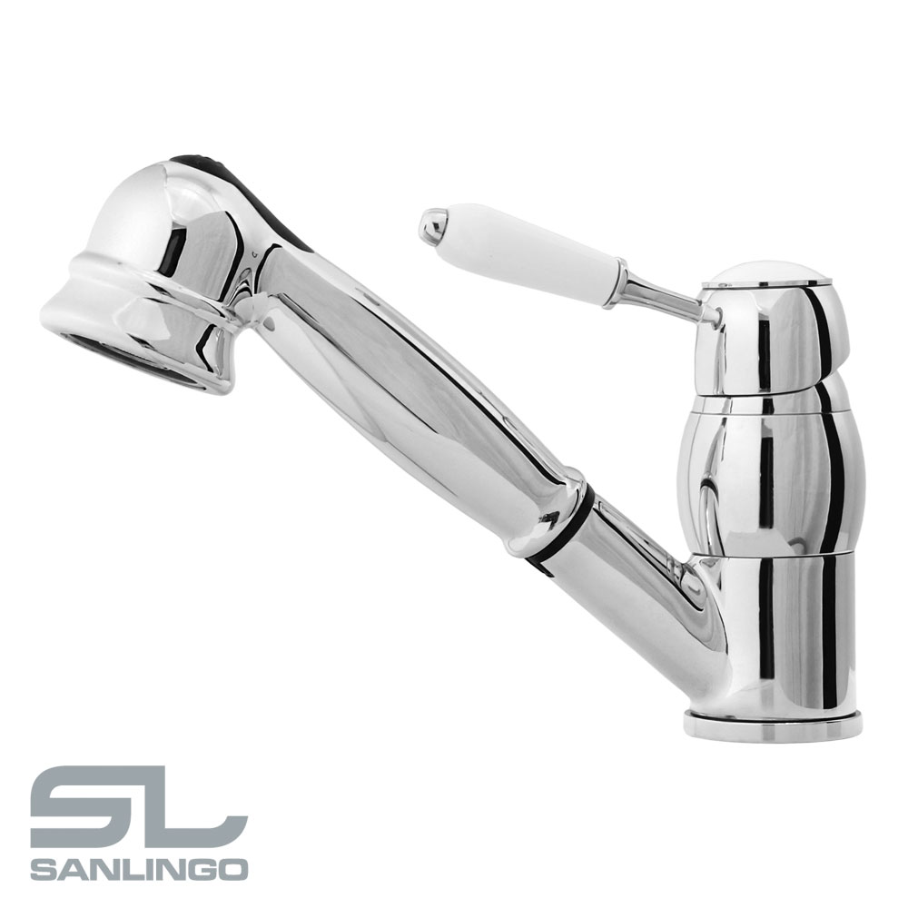 retro kitchen sink mixer tap rotatable 2 water jets pullout chrome sanlingo - Kitchen Sink Mixer Taps