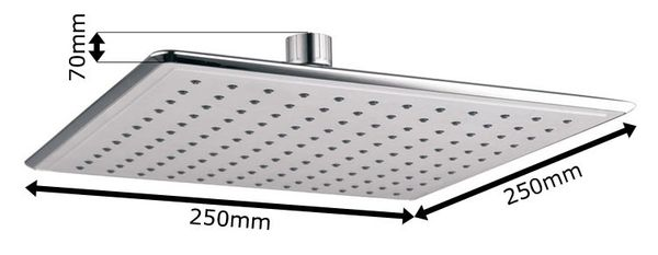 Design Rain Shower Head 25x25cm Angular Square-cut Quadratic Chrome Sanlingo – Bild 2