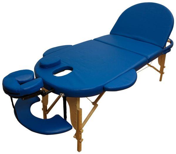 Reiki Massageliege / Massagebank, Oval - Rund, mit viel Zubehör, blau – Bild 1