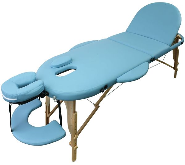 Ovale Massageliege Kingpower 3 Zonen inkl. Tasche und Zub. hellblau – Bild 1