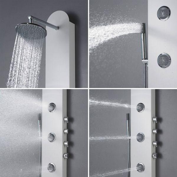 Silver Aluminium Shower Panel Shower Column Rain shower Massage jets Sanlingo – Bild 3