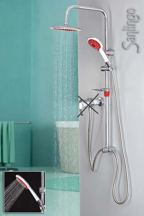 Design Duschset Duschstange Handbrause Regenbrause Kopfbrause Rot Weiß Chrom