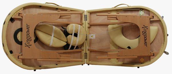Reiki Massageliege / Massagebank, Oval - Rund, mit viel Zubehör, gelb – Bild 4