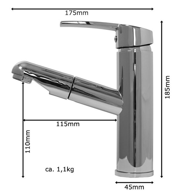 Modern Style Bathroom Washbasin Single Lever Mixer Tap Pullout Chrome Sanlingo – Bild 8