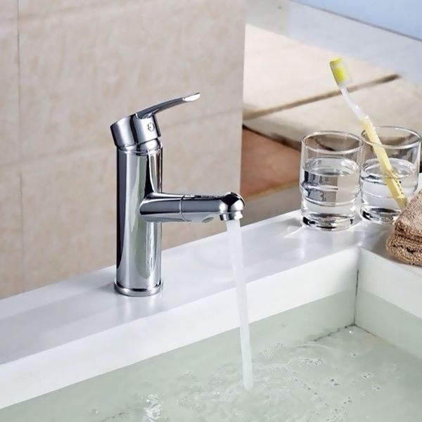 Modern Style Bathroom Washbasin Single Lever Mixer Tap Pullout Chrome Sanlingo – Bild 4