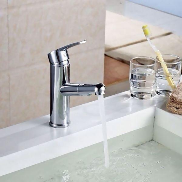 Design Bad Waschbecken Einhebel Armatur Wasserhahn Ausziehbar Chrom Sanlingo – Bild 4